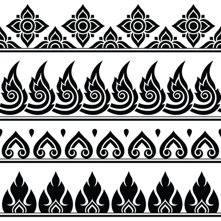 Thai style: Seamless Thai pattern, repetitive design from Thailand - folk art style Illustration