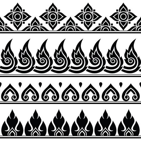 stoke: Seamless Thai pattern, repetitive design from Thailand - folk art style Illustration