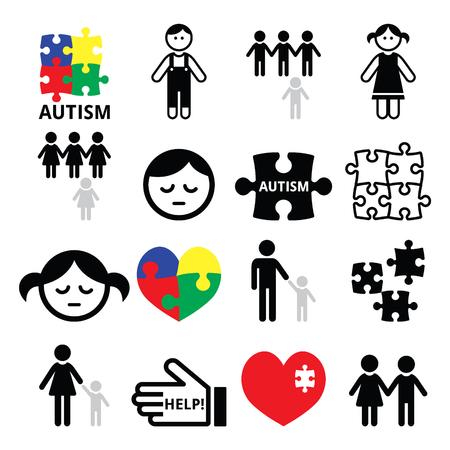 Autism awareness puzzles, autistic children icons Illustration
