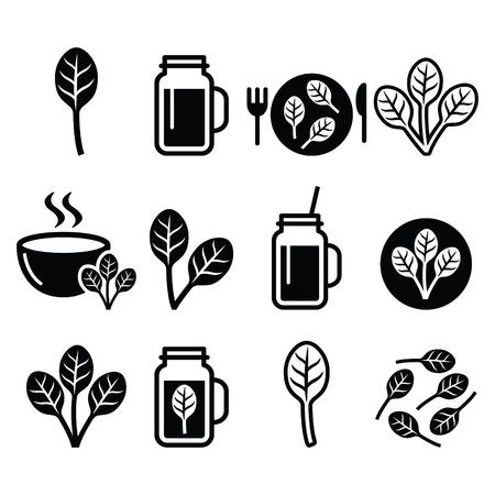 espinaca: La espinaca, comida sana - iconos de batidos verdes conjunto