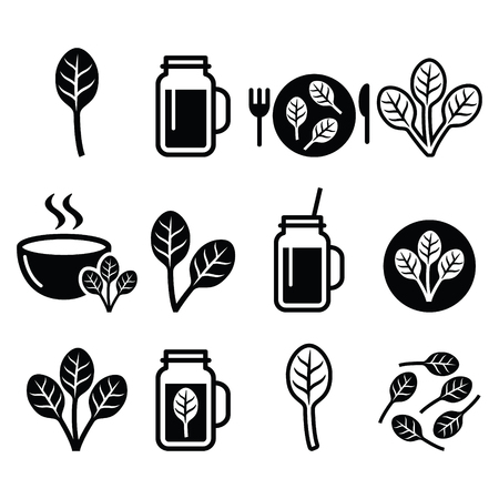 Spinach, healthy food - green smoothie icons set