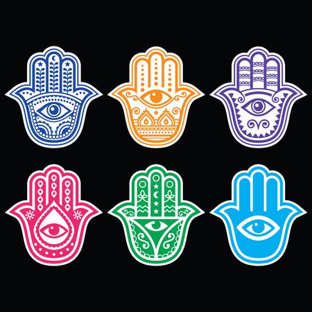 la mano de Hamsa, Mano de Fátima - amuleto, símbolo de la protección del ojo diablo en negro