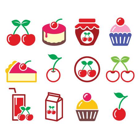 fruit cake: Cherry, fruit cake, jam icons set