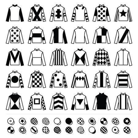 silks: Jockey uniform - jackets, silks and hats, horse riding icons set