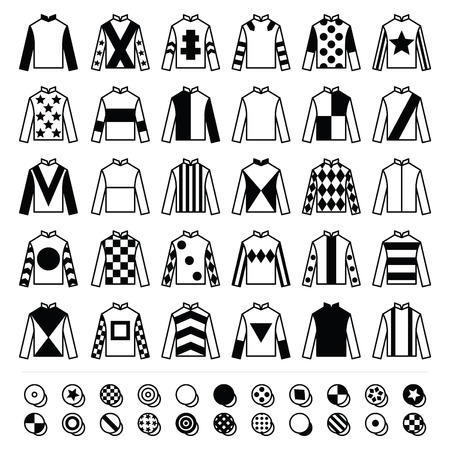 Jockey uniforme - giacche, sete e cappelli, a cavallo icone set