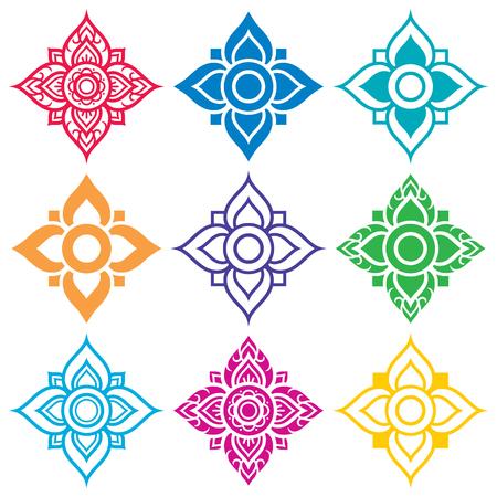 folk art: Thai folk art pattern - flower shape