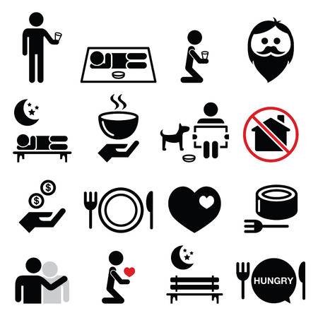 Homeless, poverty, man begging for money icons set