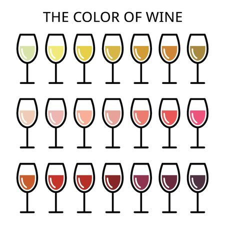 variety: The color of wine - different shade of white, rose and red wine icons set