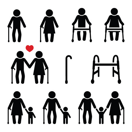 Old people, seniors with walking stick or Zimmer frame, grandparents icons