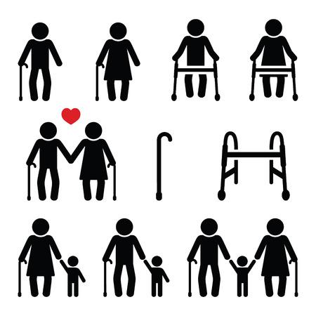 노인, 지팡이 또는 짐머 프레임 노인, 아이콘 조부모