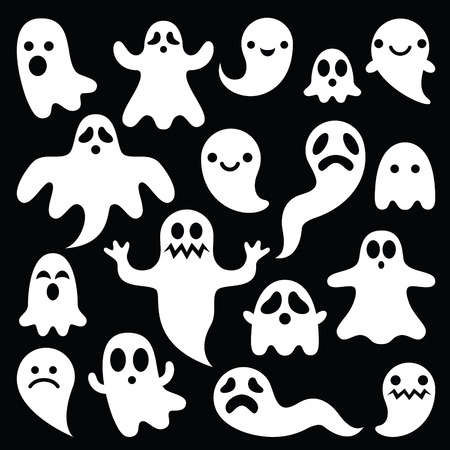 scary hand: Scary white ghosts design on black background - Halloween celebration Illustration