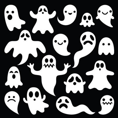 Scary white ghosts design on black background - Halloween celebration 向量圖像