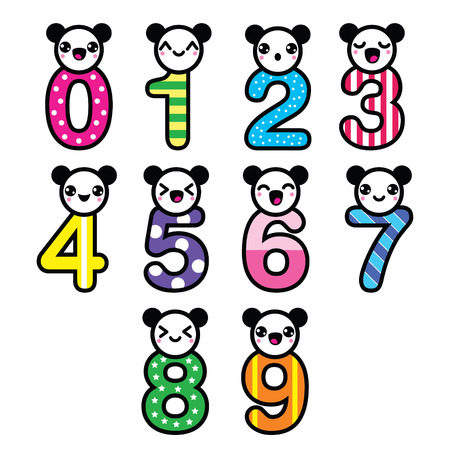 kawaii: Cute bear Kawaii numbers set - vector