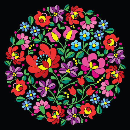 Kalocsai folk art embroidery - red Hungarian round floral pattern on black