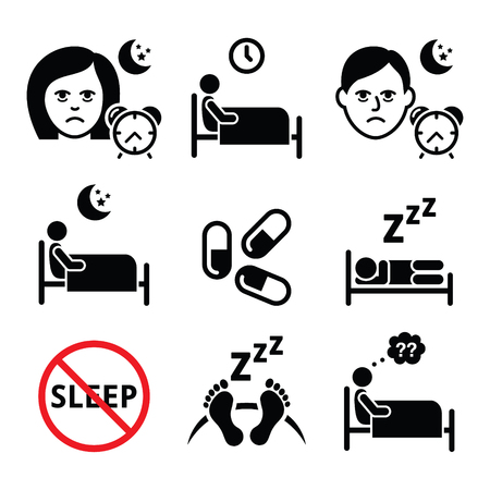 woman lying in bed: Insomnia, people having trouble with sleeping icons set