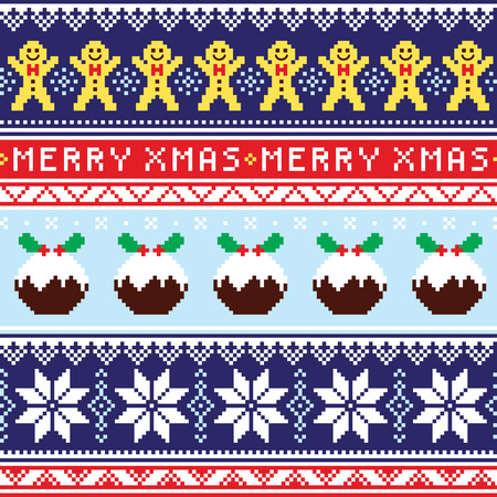 Christmas jumper or sweater seamless pattern with gingerbread man and Christmas pudding Imagens - 56911027
