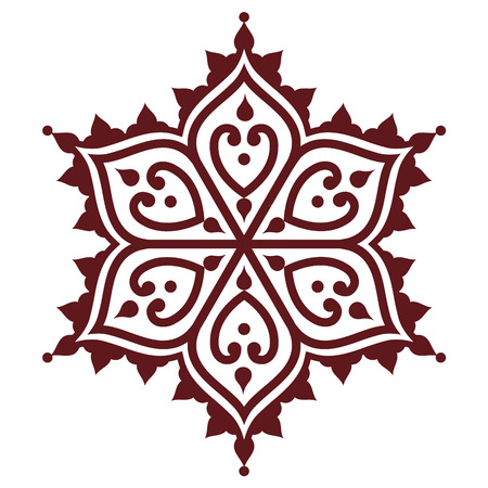 Mehndi, Indian Henna brown tattoo design - flower shape