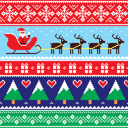 Christmas jumper or sweater seamless pattern with Santa and reindeer
