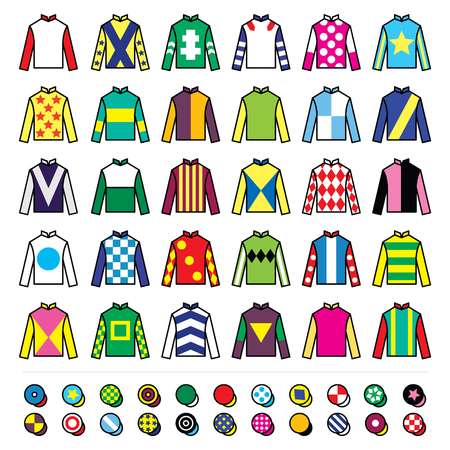 jockeys: Jockey uniform - jackets, silks and hats, horse riding icons set
