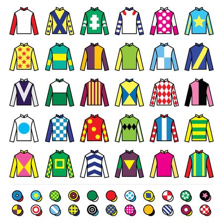 Jockey uniform - jackets, silks and hats, horse riding icons set