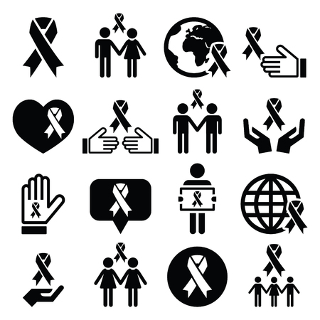 awareness ribbons: Awareness ribbons with people - black vector icons set Illustration