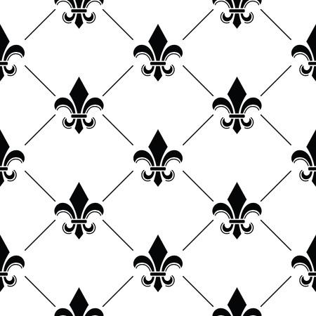 emblematic: French Damask background - Fleur de lis black pattern Illustration