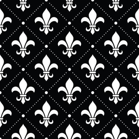 French Damask background - Fleur de lis white pattern on black Illustration
