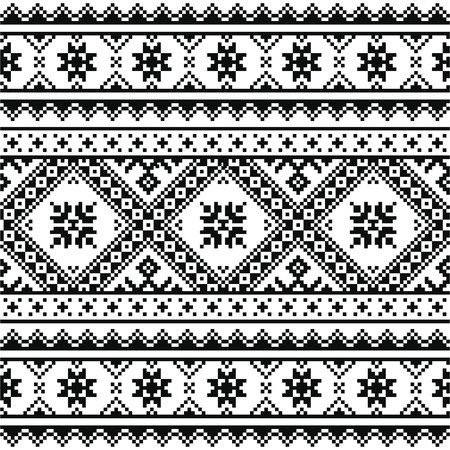 black borders: Traditional folk knitted black embroidery pattern from Ukraine or Belarus Illustration