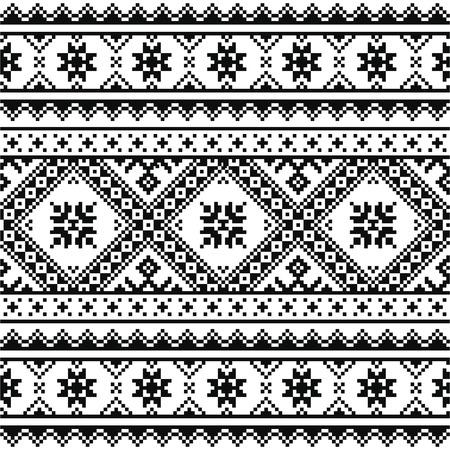 ukraine folk: Traditional folk knitted black embroidery pattern from Ukraine or Belarus Illustration