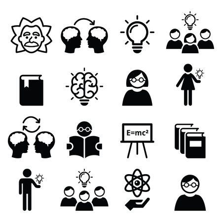 invent clever: Knowledge, creative thinking, ideas vector icons set