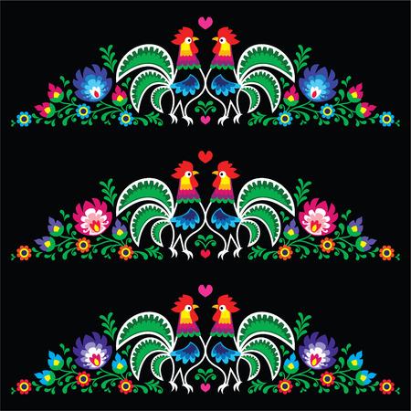 Polish folk art embroidery with roosters - traditional folk pattern Vektoros illusztráció