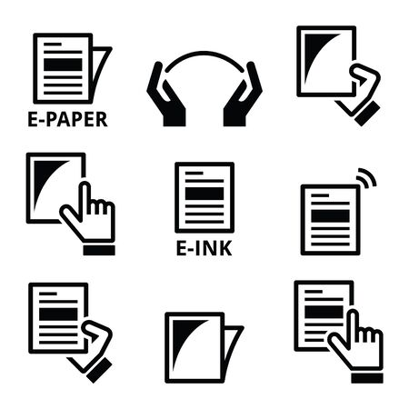 device: E-paper, e-ink technology display device icons set Illustration