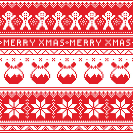 scandinavian christmas: Christmas jumper or sweater seamless pattern with gingerbread man and Christmas pudding