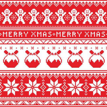 puente de Navidad o suéter patrón transparente con el hombre de pan de jengibre y el pudín de Navidad