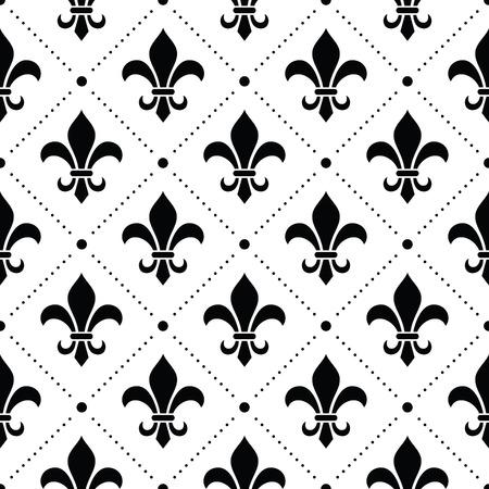 Fundo francês do damasco - padrão de flor de lis preto no branco