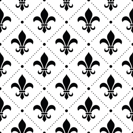 French Damask background - Fleur de lis black pattern on white