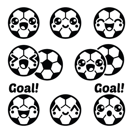 kids football: Kawaii football or soccer ball - cute character icons set