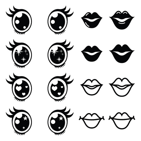 kawaii: Kawaii cute eyes and lips icons set, Kawaii character Illustration