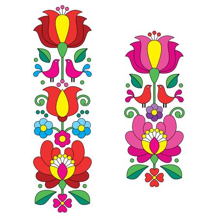 folk art: Kalocsai embroidery - Hungarian floral folk art long patterns