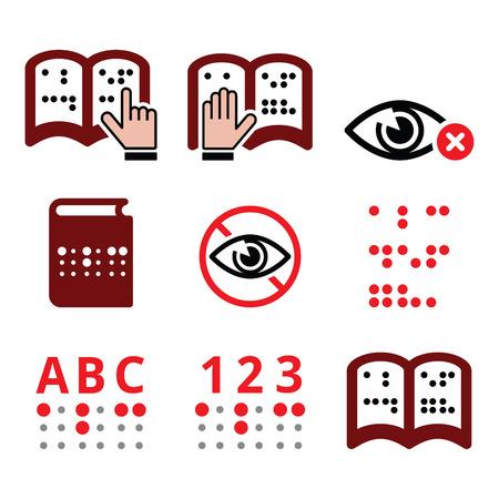 braile: Las personas ciegas, icono de sistema de escritura Braille establecen