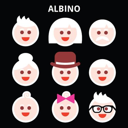 Albino people, Albinism vector icons set