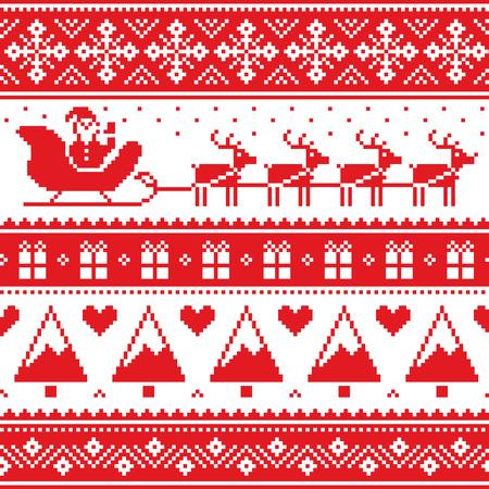 크리스마스 점퍼 또는 스웨터 산타와 순록이 원활한 빨간색 패턴 일러스트