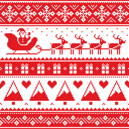 Christmas jumper or sweater seamless red pattern with Santa and reindeer Ilustracja