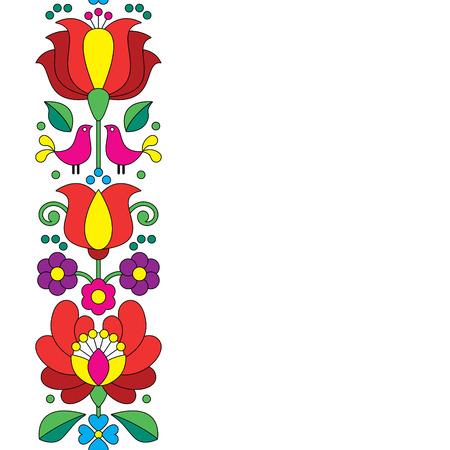 Seamless broderie Kalocsai - motif floral hongrois d'art populaire