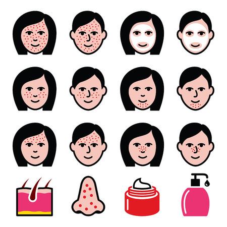 Hautprobleme - Akne, Pickel Behandlung Icons Set Vektorgrafik