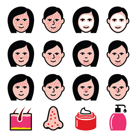 dermatologist: Skin problems - acne, spots treatment icons set Illustration