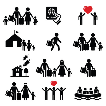 refugee: Refugee, immigrants, families running away from their countries icons set Illustration