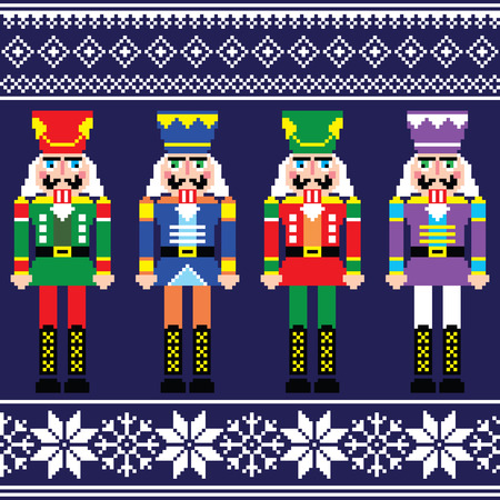 Christmas jumper or sweater seamless pattern with nutcrackers