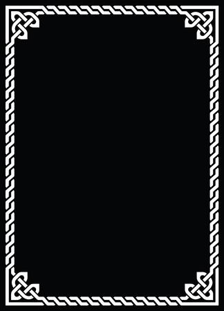 Celtic knot braided white frame - rectangle on black