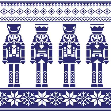 the nutcracker: Nutrckrackers seamless Christmas, winter navy pattern